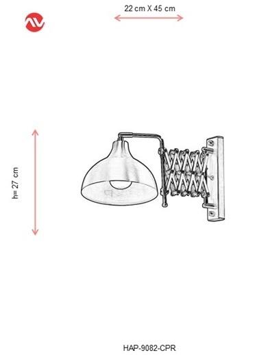 Avonni  HAP-9082-CPR Bakır Kaplama Aplik E27 Metal 22x45cm Bakır